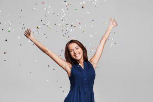 Joyful woman celebrating
