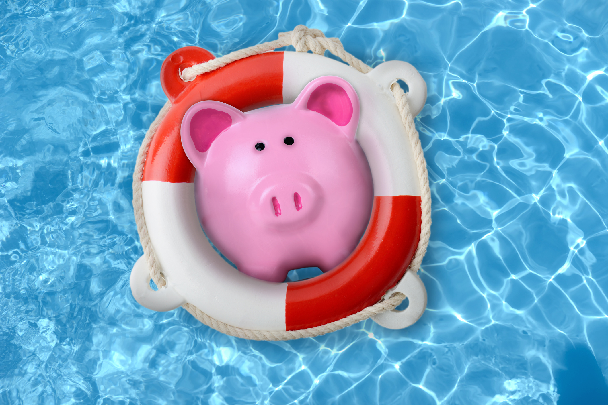Piggy bank in a lifebuoy