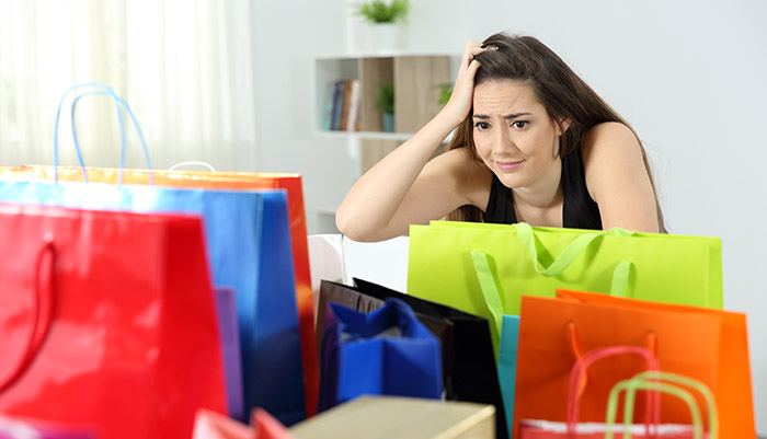 Woman worried about shopaholic debt after shopping spree