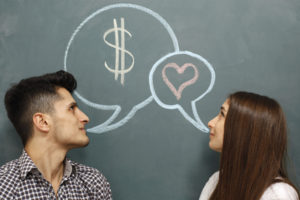 Man thinks about money and woman about love