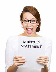 Woman happy with her monthly statement