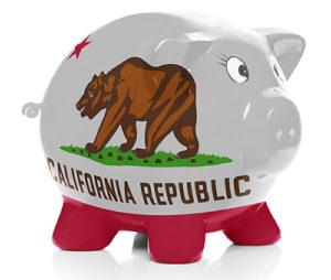 California flag painted piggy bank