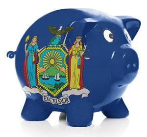 New York state flag on piggy bank
