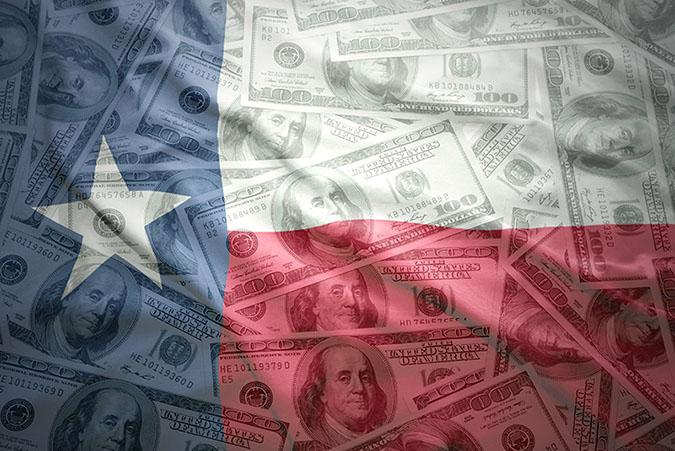 Texas flag with $100 bills