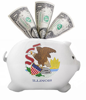 Illinois flag painted piggy bank