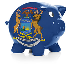 Piggy bank painted with state flag of Michigan