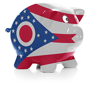 Piggy bank painted with Ohio state flag