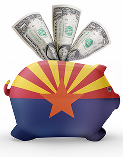 Piggy bank painted with arizona flag