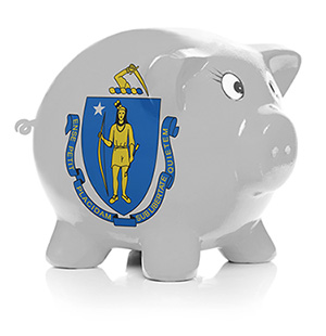 Piggy bank painted with Massachusetts flag