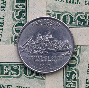 Arizona quarter sitting on cash