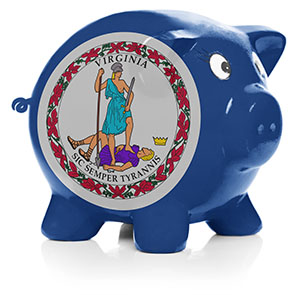 Piggy bank painted with Virginia state flag