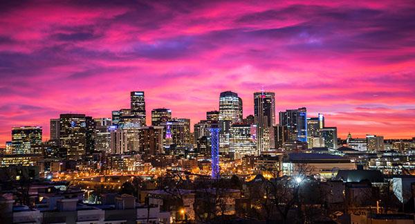 Denver city skyline at sunset