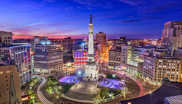 Indianapolis city skyline at dusk