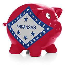 Piggy bank painted with Arkansas state flag