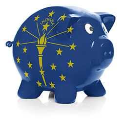 Empty piggy bank with Indiana state flag painted on it