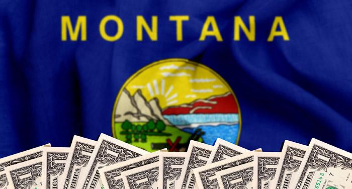 Dollar bills under Montana state flag