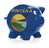 Piggy bank with Montana state flag painted on it
