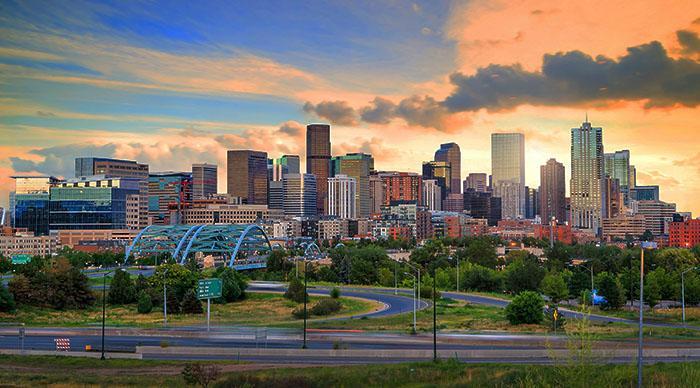 Denver, Colorado city skyline at sunset
