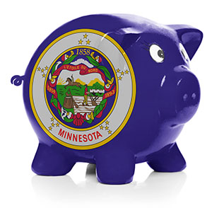 Minnesota state flag painted on side of piggy bank
