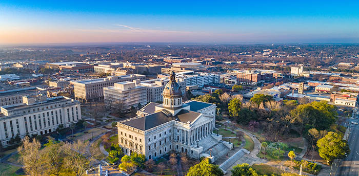 Aerial view of Downtown Columbia, South Carolina