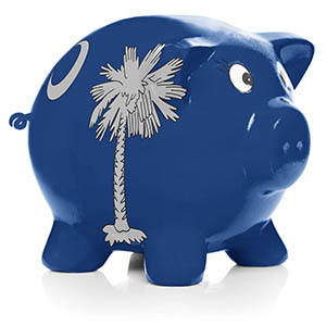 South Carolina state flag painted on piggy bank