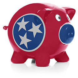 Tennessee state flag painted on piggy bank