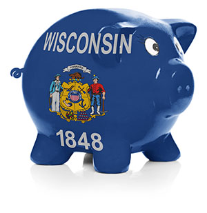 Piggy bank painted with the state flag Wisconsin