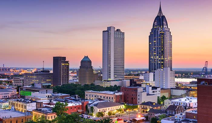 Alabama city skyline at sunset