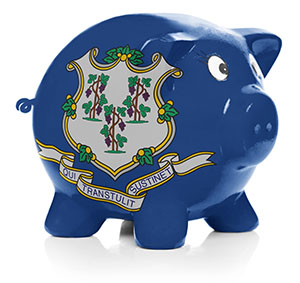 Piggy bank painted with Connecticut state flag