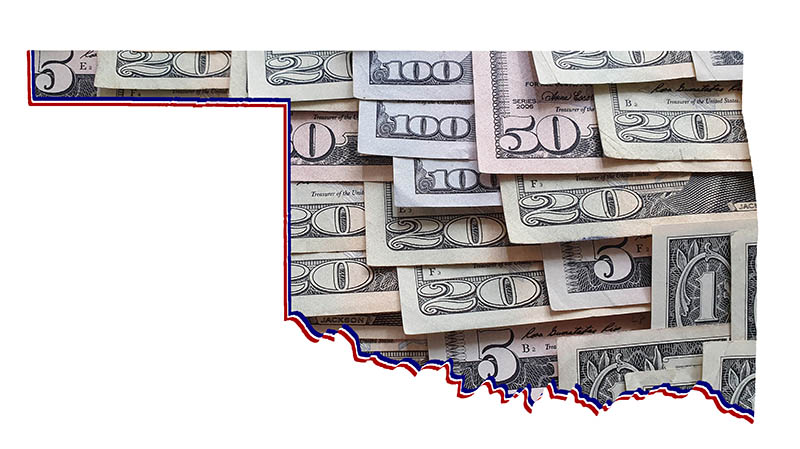 Oklahoma state map filled with US dollars