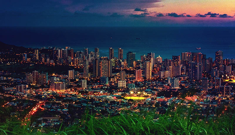 Honolulu city skyline just after sunset