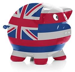 Hawaiian flag painted on piggy bank
