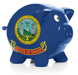 Piggy bank painted with Idaho state flag