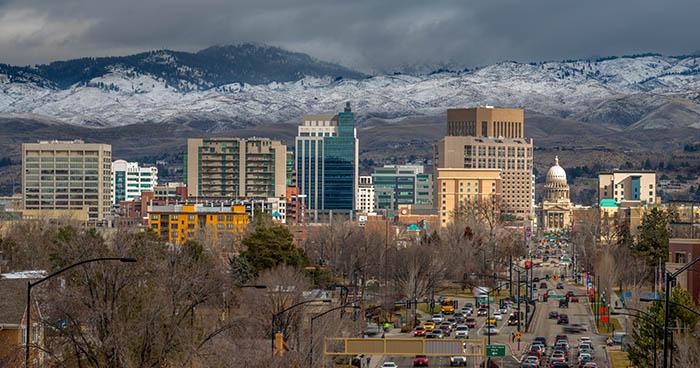 Boise, Idaho city skyline on cloudy day