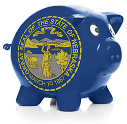 Piggy bank painted with Nebraska state flag