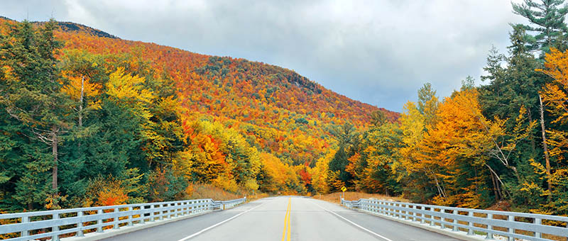 View from the highway in White Mountain, New Hampshire