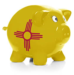 Piggy bank painted with New Mexico state flag