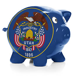 Piggy bank painted with Utah flag