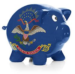 North Dakota state flag painted on piggy bank