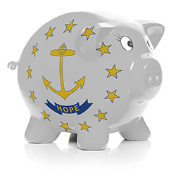 Piggy bank with Rhode Island state flag painted on the side